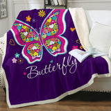 Love Hearts On Butterfly (Purple) Throw Rug