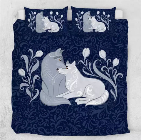 Grey Foxes (Blue) Bedding Set