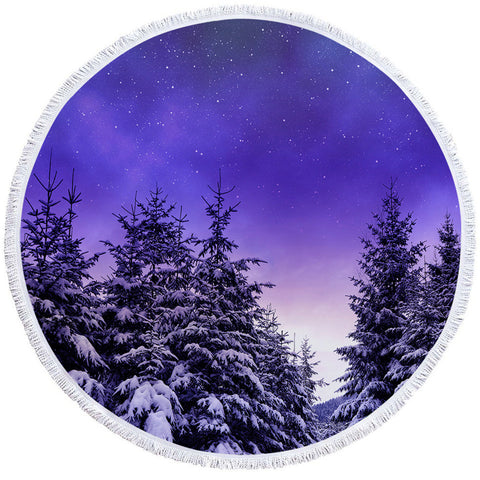 Purple Forest Round Towel