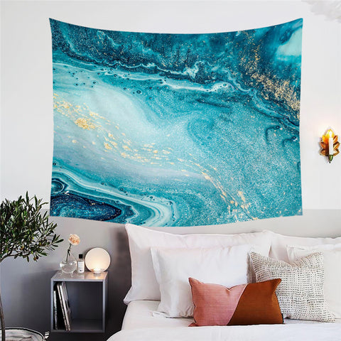 Aqua & Gold Marble Wall Tapestry