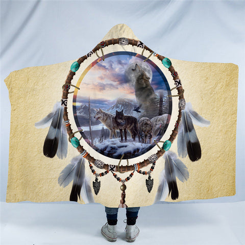 Picture Of Wolves In The Dreamcatcher Hooded Blanket