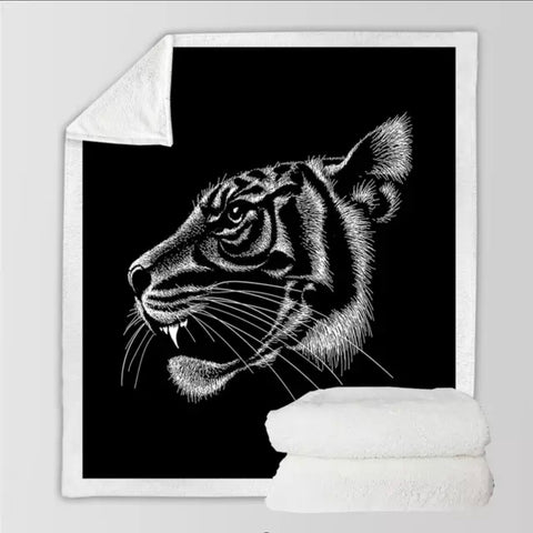 Black & White Tiger Throw Rug
