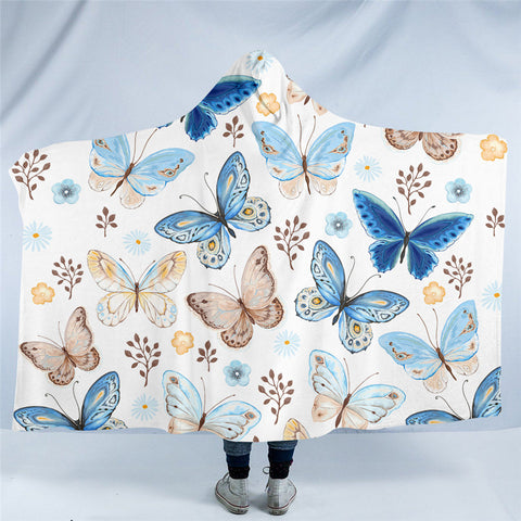 Blue & Beige Butterflies Hooded Blanket