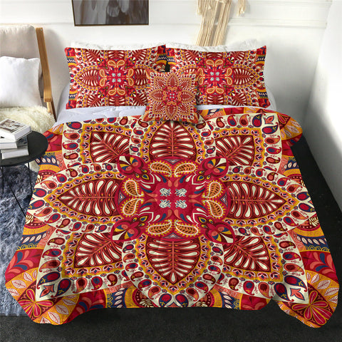 Red & Yellow Mandala Flower Comforter Set