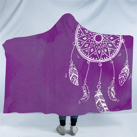 Purple Dreamcatcher Hooded Blanket