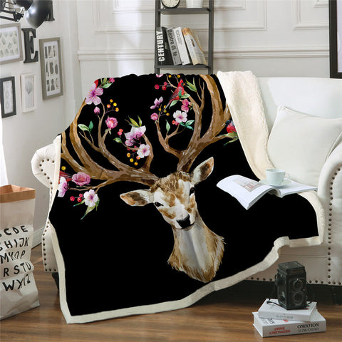 Birds & The Elk (Black) Throw Rug