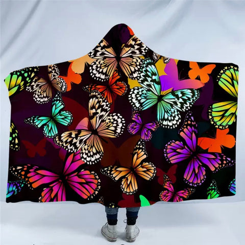 Butterflies (Brown) Hooded Blanket