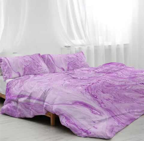 Lavender Marble Bedding Set