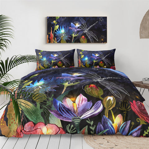 Dragonfly Hovering Over Flowers Bedding Set