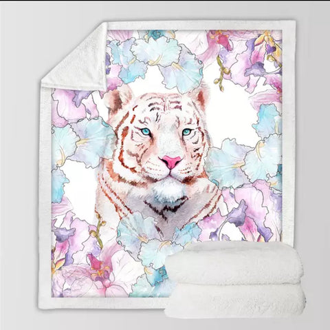 Tiger With Flowers Throw Rug
