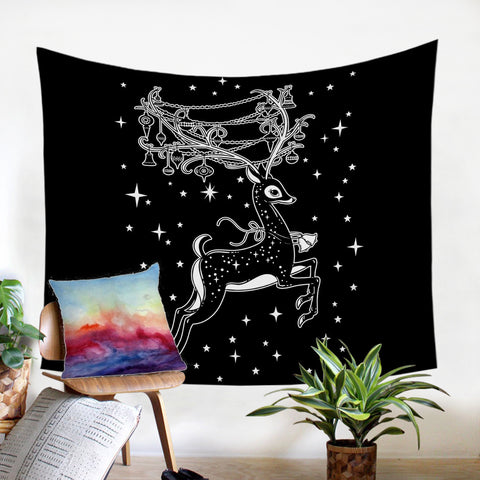 Black & White Reindeer Wall Tapestry