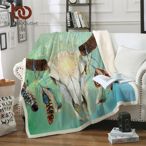 Green To Light Blue Bull Skull Dreamcatcher Throw Rug