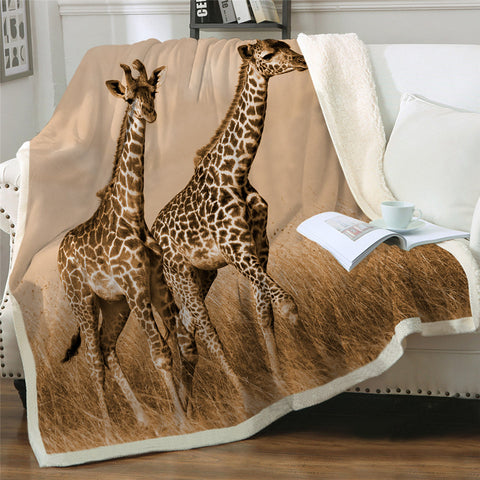 Two Giraffes Throw Rug