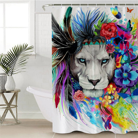 Lion By Pixie Cold Art Shower Curtain