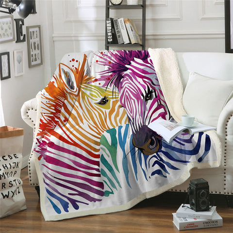 Rainbow Zebras Throw Rug