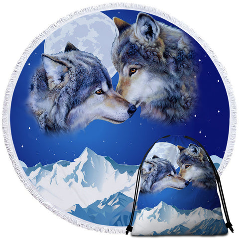 Wolf Couple By Ismot Esha Round Towel