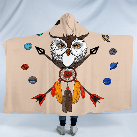 American Indian Owl Dreamcatcher Hooded Blanket