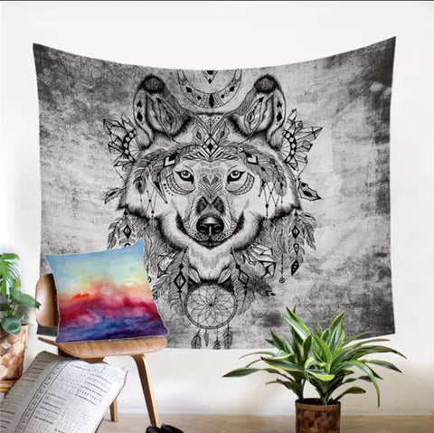 Black & White Indian Wolf Wall Tapestry
