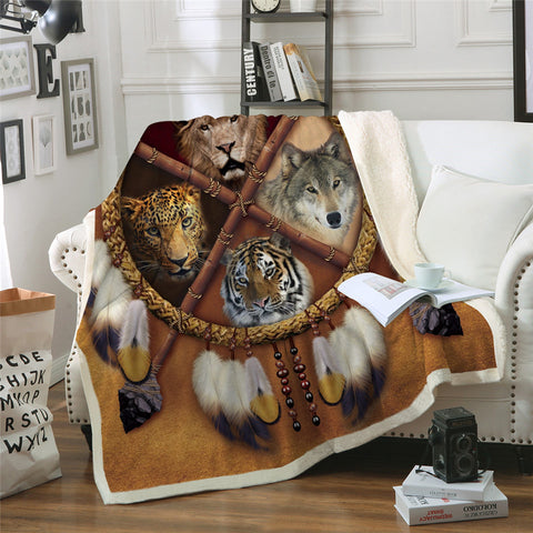 Wolf, Lion, Leopard & Tiger Dreamcatcher Throw Rug