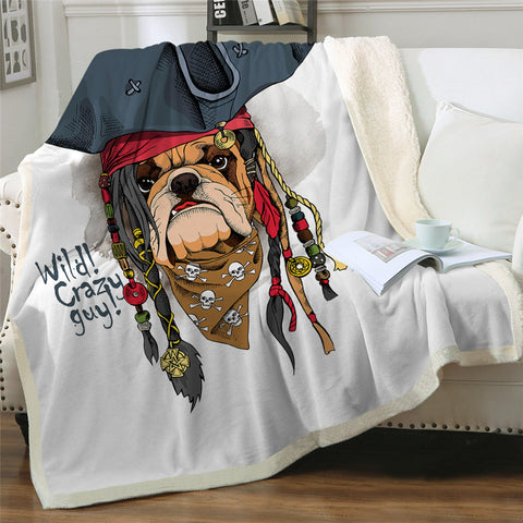 Pirate Bulldog Throw Rug