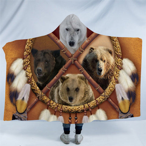 Bears Dreamcatcher Hooded Blanket