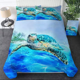 Turtle Peeking Above The Ocean Bedding Set