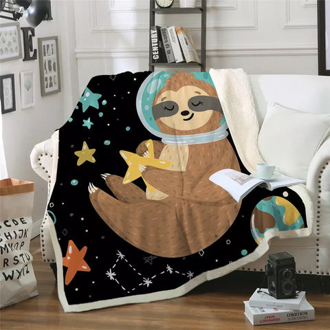 Outer Space Sloth Holding A Star Throw Rug