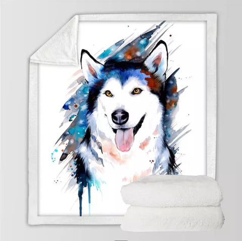 Husky By Pixie Cold Art Throw Rug