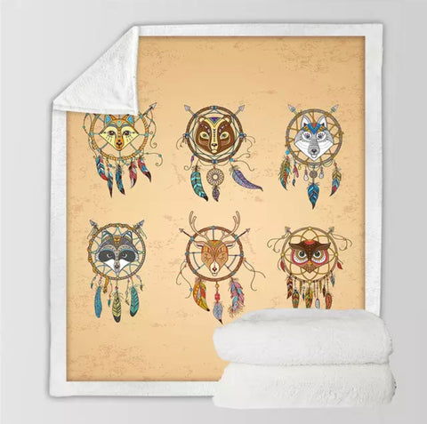 American Indian Animals Dreamcatchers Throw Rug