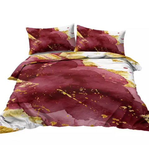 Red, White & Gold Marble Bedding Set