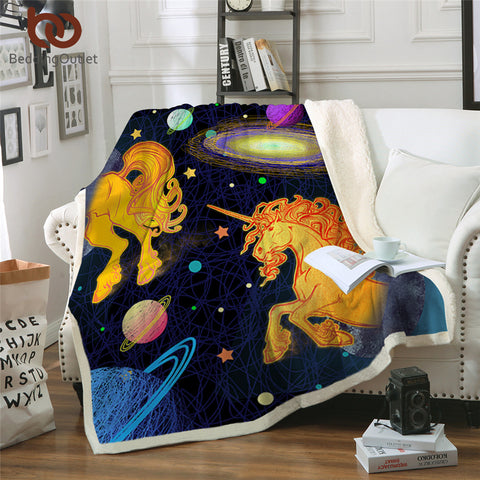 Unicorns & Planets Throw Rug