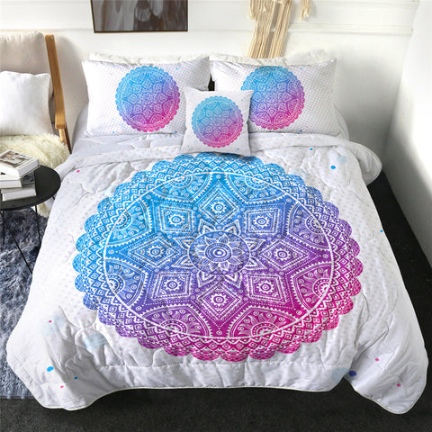 Blue To Pink Ombré Mandala Circle Comforter Set