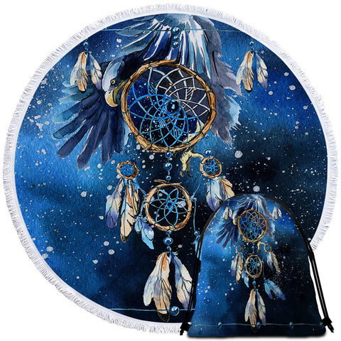 Bald Eagle Dreamcatcher Round Towel