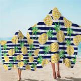 Pineapples & Blue Stripes Hooded Towel
