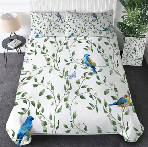 Blue Birds Perching Bedding Set