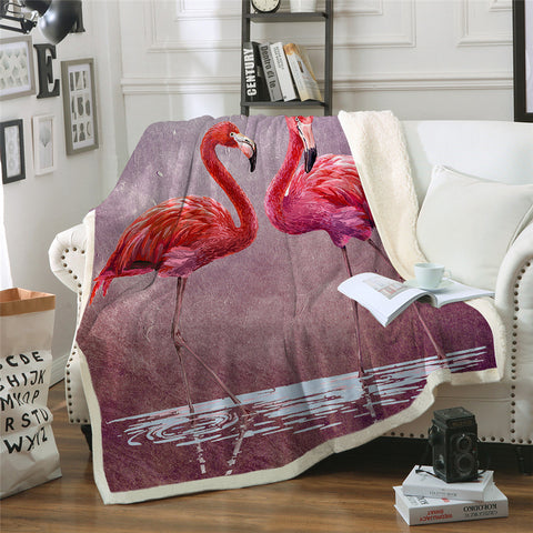 Couple Of Flamingos Throw Rug