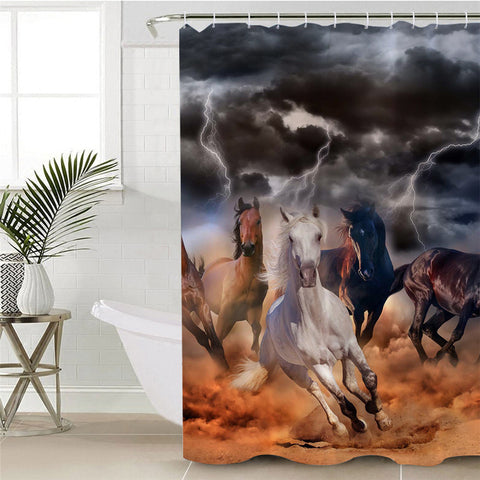 Wild Horses In Storm Shower Curtain