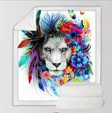 Lion By Pixie Cold Art Throw Rug