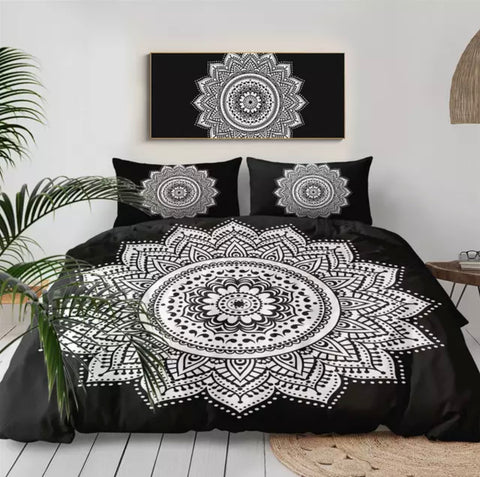 Black & White Mandala Flower Bedding Set