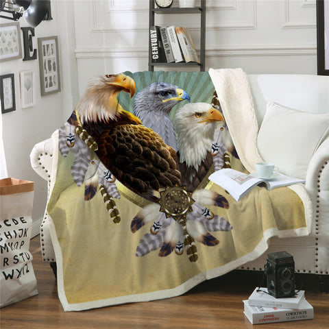 Three Bald Eagles Dreamcatcher Throw Rug