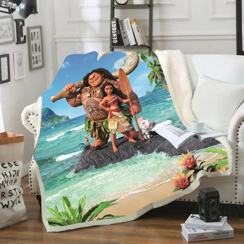 Moana and Maui on the island Throw Rug