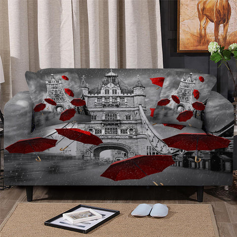 Red Umbrellas tower Of London Sofa Cover