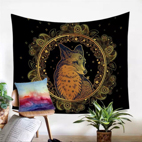 Golden Fox Wall Tapestry