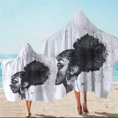 Black & White African Lady Hooded Towel