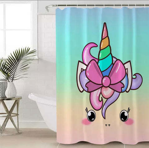 Cute Unicorn With Bow Shower Curtain
