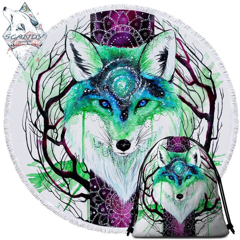 Fox Galaxy By Scandy Girl Round Towel