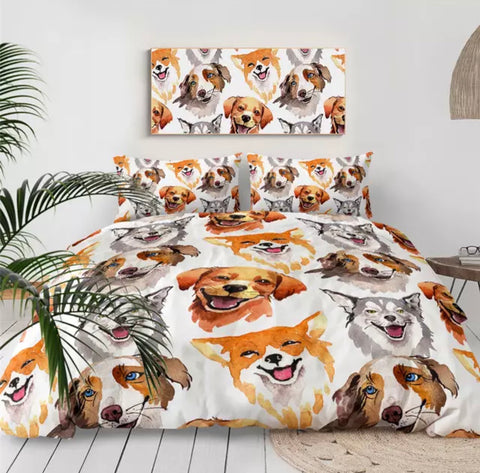 Watercolour Of Various Dogs Bedding Set
