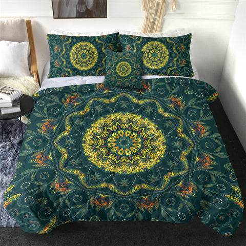 Green & Yellow Mandala Comforter Set