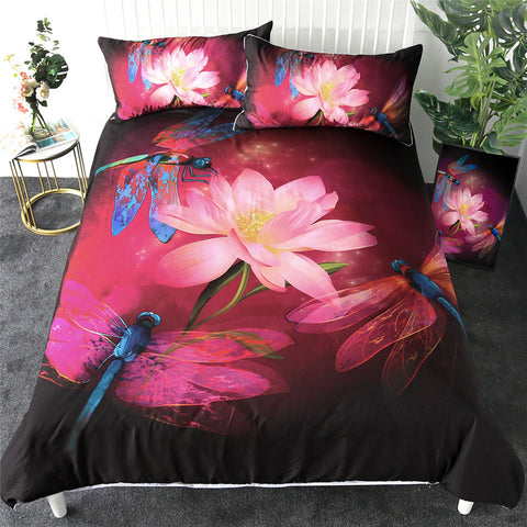 Three Dragonflies & Lotus Flower Bedding Set