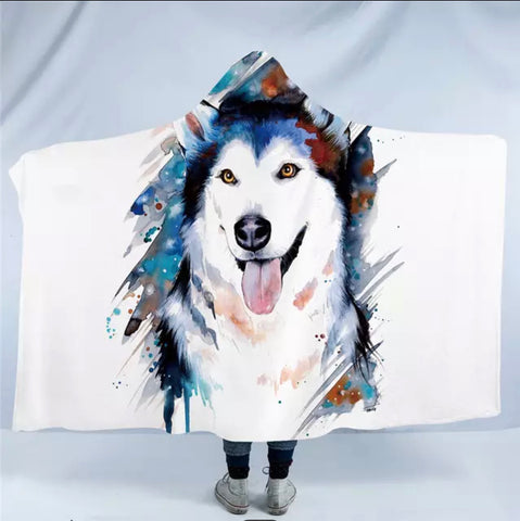 Husky By Pixie Cold Art Hooded Blanket